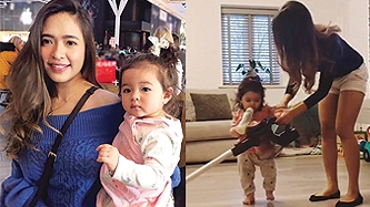 Bangs Garcia teaches one-year-old daughter about household chores