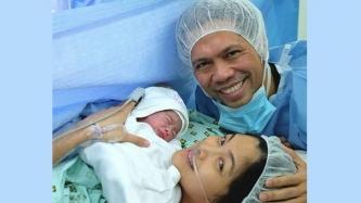 Miriam Quiambao gives birth to a baby boy